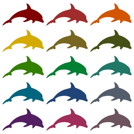 dolphin silhouette: Dolphin Silhouette icons set
