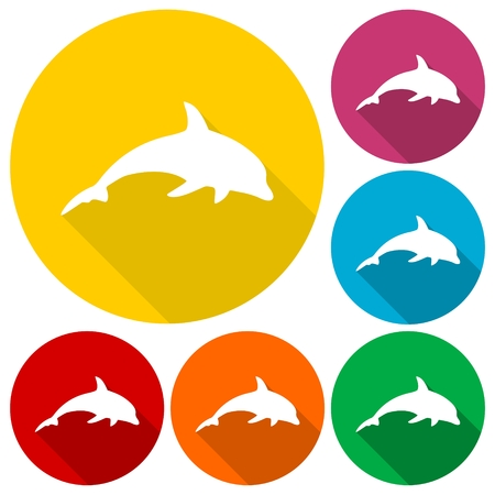 dolphin silhouette: Dolphin Silhouette icons set with long shadow