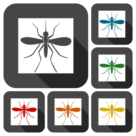albopictus: Mosquito icons set with long shadow Illustration