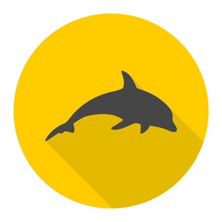 dolphin silhouette: Dolphin Silhouette icon with long shadow