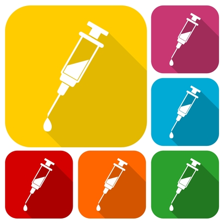 Syringe icons set with long shadow