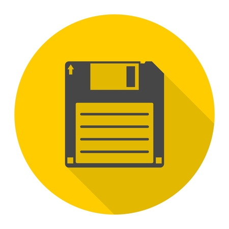 textfield: Magnetic floppy disc icon with long shadow