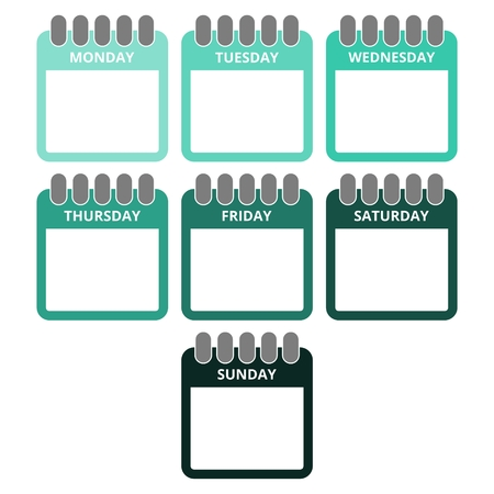 every day: Days of the week, Calendar sheets with the days of the week Illustration