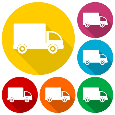 removal van: Truck icons set with long shadow Illustration