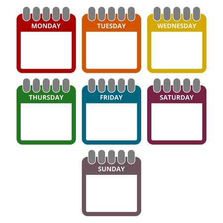 week: Days of the week, Calendar sheets with the days of the week Illustration