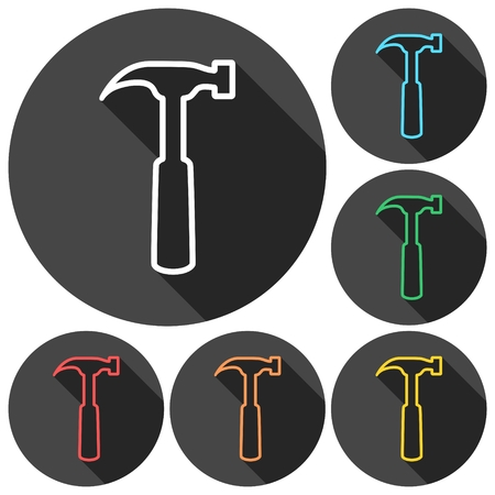 tooling: Hammer Icons set with long shadow Illustration