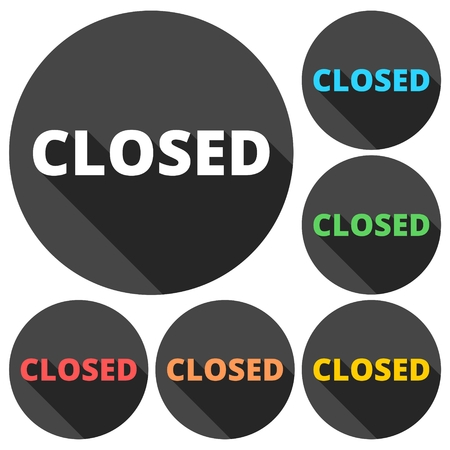 closed sign: Closed Sign icons set with long shadow Illustration