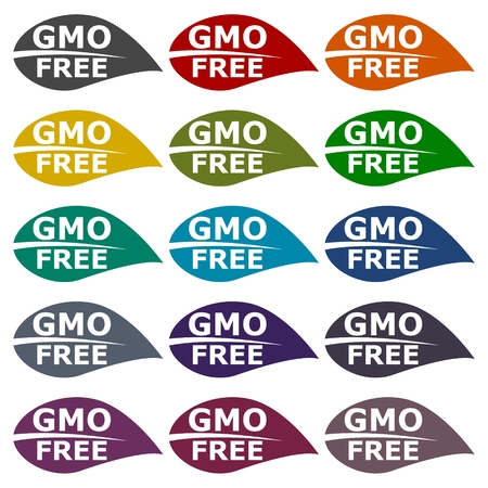 genetically modified crops: GMO Free Leaf icons set