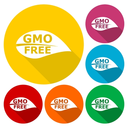genetically modified crops: GMO Free Leaf icons set with long shadow Illustration