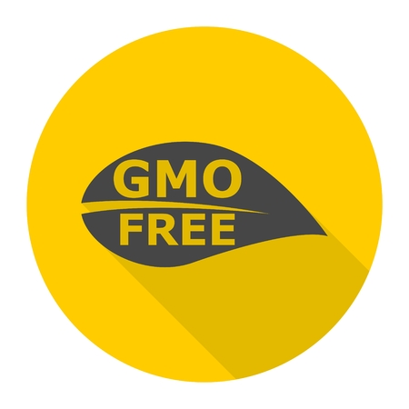 genetically modified crops: GMO Free Leaf icon with long shadow Illustration