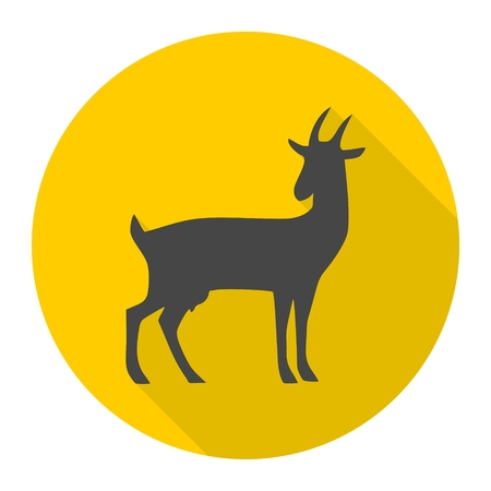 Goat icon with long shadow set