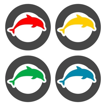 dusky: Silhouette dolphin icons set