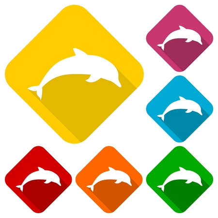 Silhouette dolphin icons set with long shadow