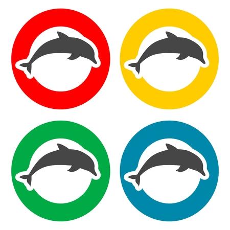 シルエット イルカのアイコンを設定  イラスト・ベクター素材
