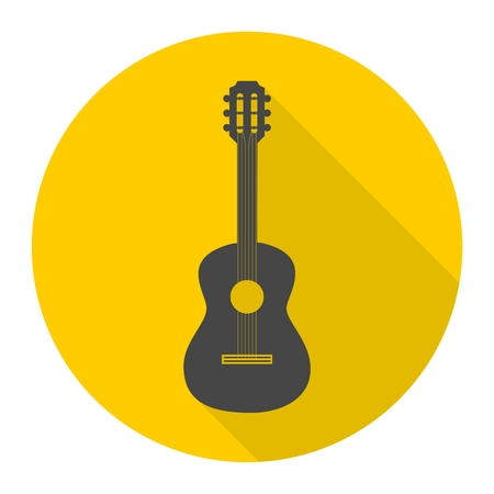 Guitar icon with long shadow Illustration