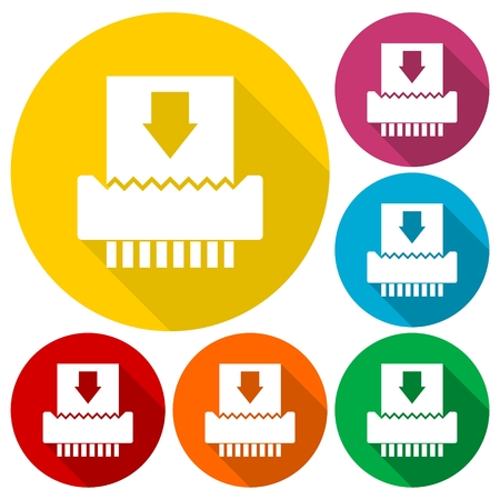 Paper Shredder Icons set with long shadow