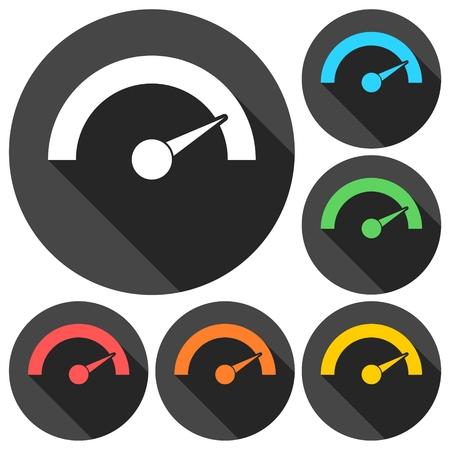 pressure gauge: Pressure gauge - Manometer icons set with long shadow