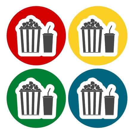Popcorn and soda with straw icons set