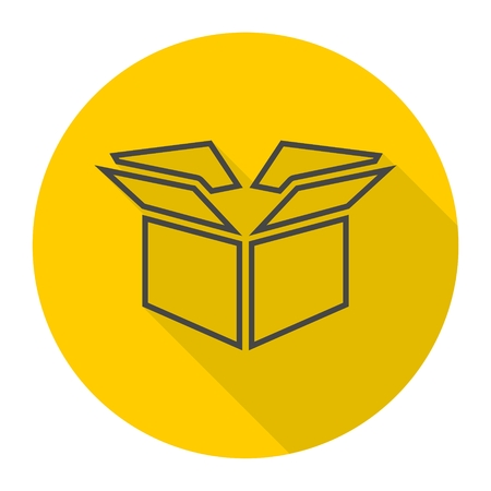Open box icon with long shadow Illustration