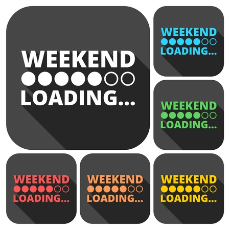 Weekend Loading icons set with long shadow