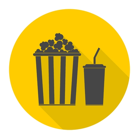 Popcorn and soda with straw icon with long shadow Illustration
