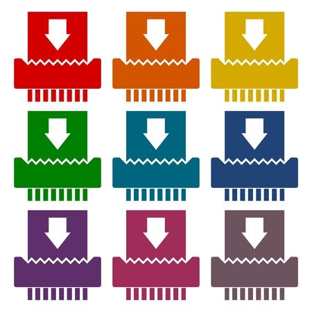paper shredder: Paper Shredder Icons set