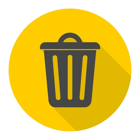 Trash bin or trash can symbol icon with long shadow