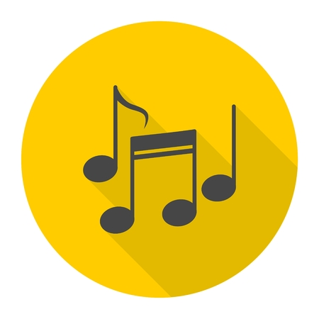 Music notes icon with long shadow Illustration