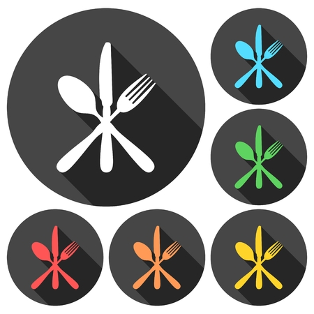 spoon fork: Restaurant Sign with Spoon, Fork and Knife icons set with long shadow