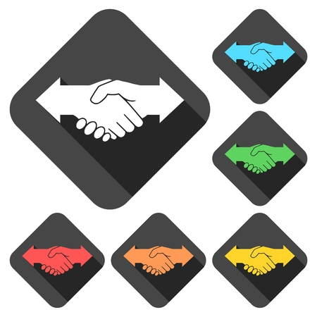 dissension: Partnership (Hand shake arrows) icons set with long shadow
