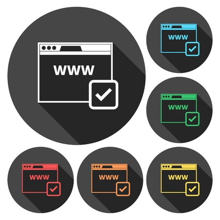 registrar: Domain Name Registration Icons set with long shadow