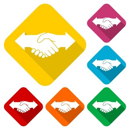 Partnership (Hand shake arrows) icons set with long shadow