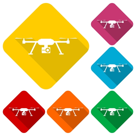 Quadrocopter Drone Icons set with long shadow