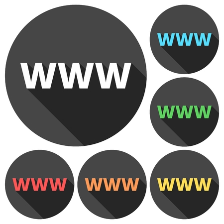 registration: Domain Name Registration (www button) Icons set with long shadow