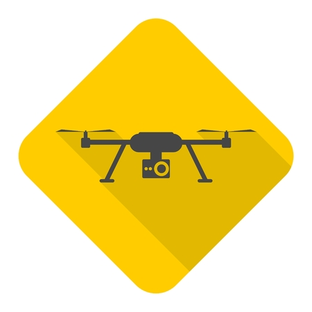 Quadrocopter Drone Icon with long shadow Illustration