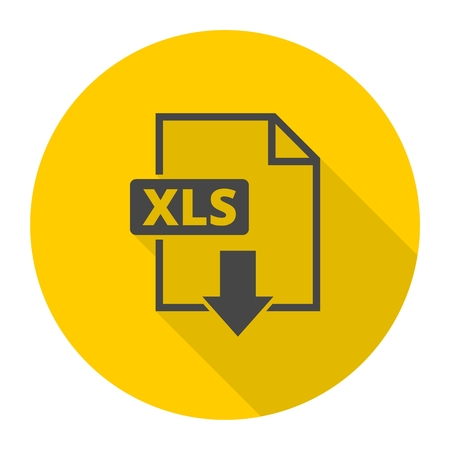 The XLS icon, File format symbol with long shadow