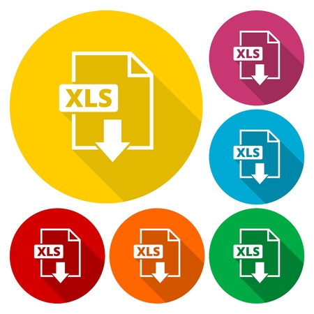 xls: The XLS icon, File format symbol set with long shadow Illustration