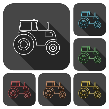 agrarian: Tractor icons set with long shadow