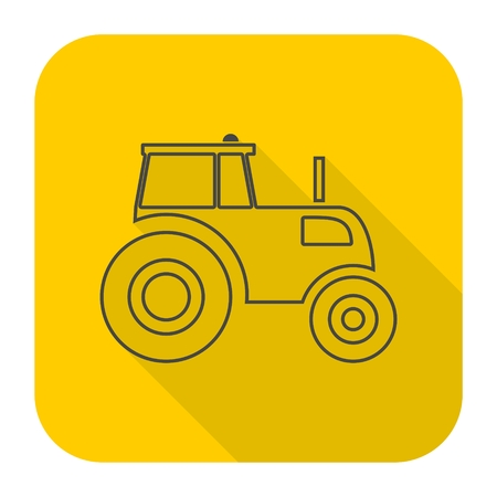 agrarian: Tractor icon with long shadow