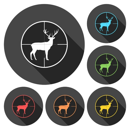 hunting season: Hunting Season with Deer in gun sight icons set with long shadow Illustration