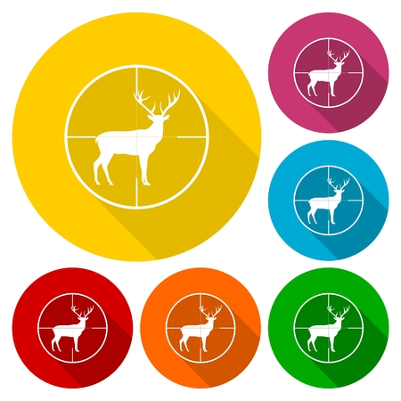 gun sight: Hunting Season with Deer in gun sight icons set with long shadow Illustration