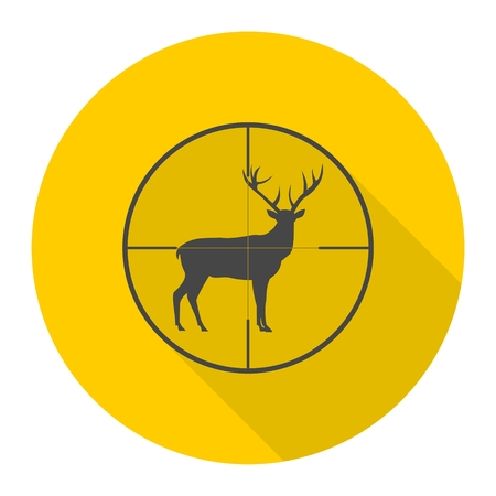 gun sight: Hunting Season with Deer in gun sight icon with long shadow