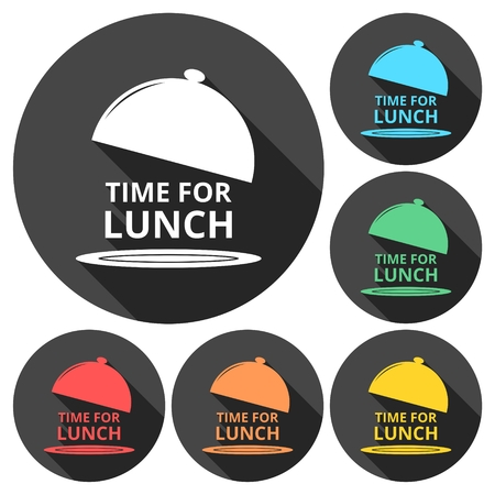 breakout: Time For Lunch icons set with long shadow Illustration