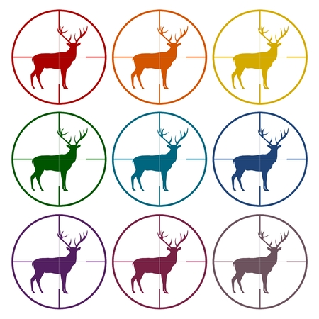 gunsight: Hunting Season with Deer in gun sight icons set