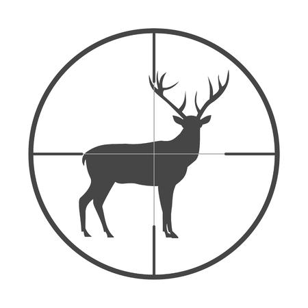 총 광경 아이콘에 사슴과 함께 시즌을 사냥 스톡 콘텐츠 - 61857446