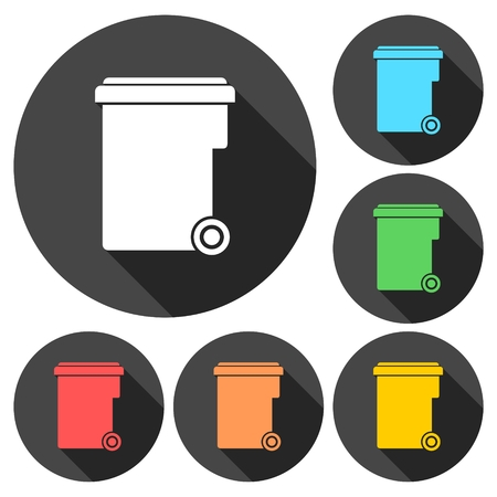 garbage container: Garbage container icons set with long shadow