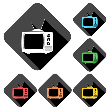 old tv: Old TV icons set with long shadow Illustration