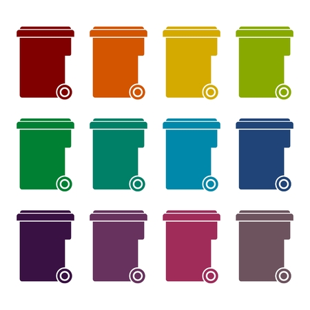 local supply: Garbage container icons set