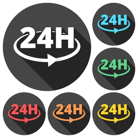 24x7: 24 hours circular icons set with long shadow Illustration
