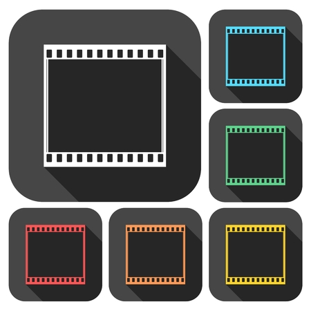 video still: Film Frame icons set with long shadow Illustration